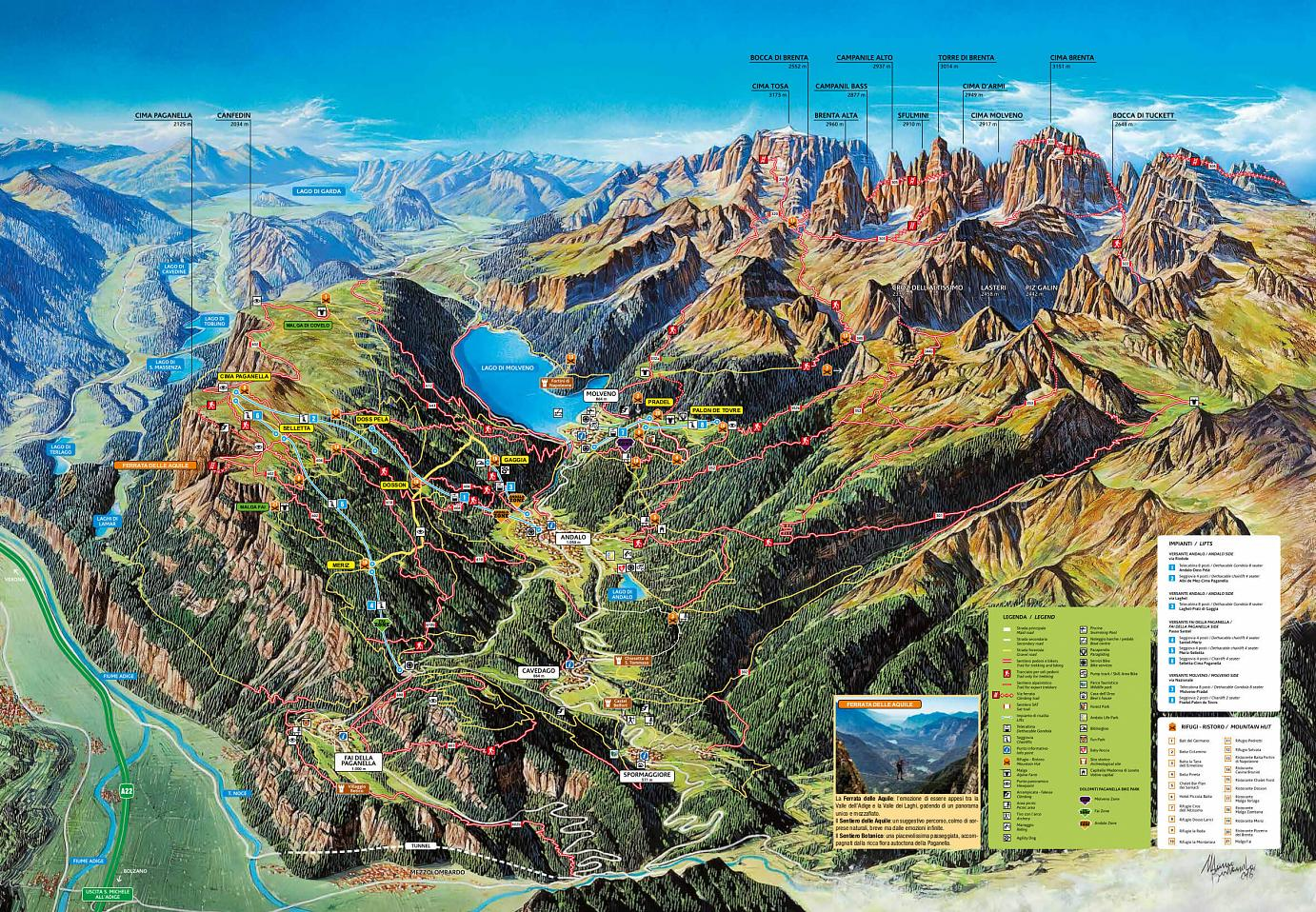 Summer map of Paganella, trekking, bike and other activities